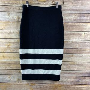 ELLE Knitted Pencil Skirt Black White Pullon -L007